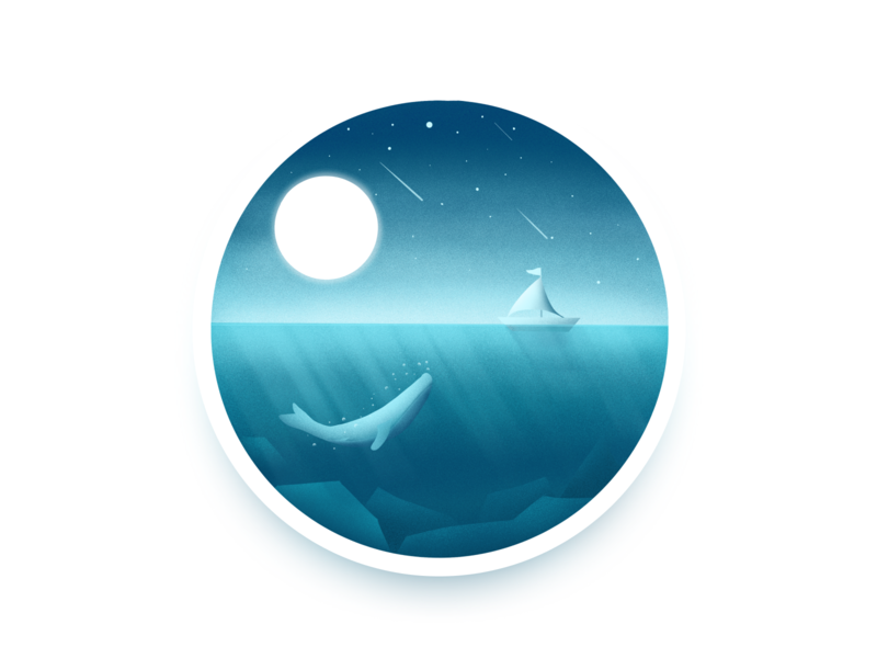 sea procreate illustration ship whale sea