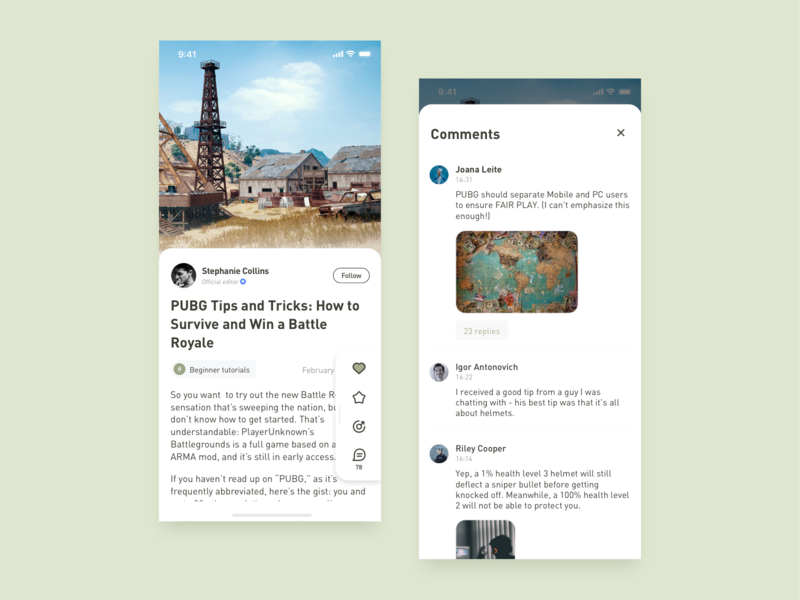 Game Assistant - Article And Comments article page comment article design app ui