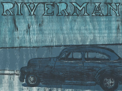 Riverman Poster printmaking relief printing illustration typography car poster music monoprint
