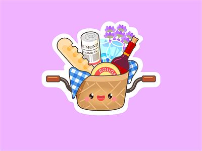 La belle vie lavendel cheese baguette wine picnic cartoon france playoff contest sticker