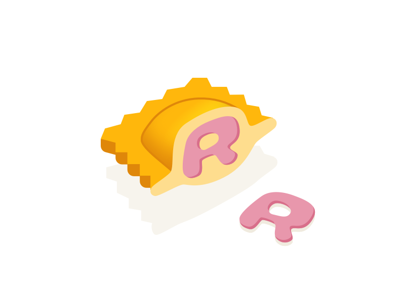 Ravioli Typehue R cartoon fun hat magic weekly letter icon design challenge typehue