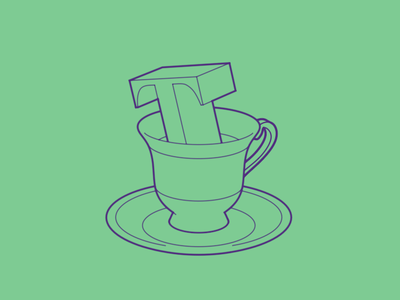 Typehue Teatime T weekly typehue magic letter icon cup tea fun design challenge illustration