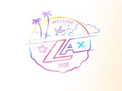 Welcome to LA X (Passport) 80s neon playoff warmup sunset iconography icon design design stamp icon illustration hollywood los angeles california airport dribbbleweeklywarmup