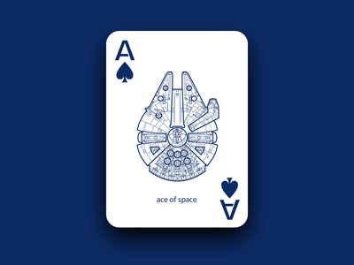 Ace of Space ace of spades jedi jump hyperspace space aces ace playing card card millennium falcon star wars starwars adobe illustrator design warmup dribbble dribbleweeklywarmup