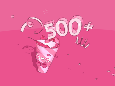 500+ followers celebration! emoji confetti popper party animated 2d fun happy celebrate love 500 dribbble design illustration animation 3d