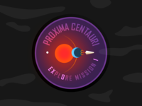 Proxima Centauri B - Mission Patch space rocket sun solar system exploration exoplanet esa nasa illustration patch design design crew astronaut dribbbleweeklywarmup
