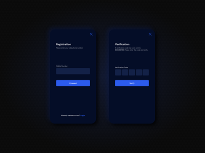 Registration with Mobile UI/UX Design Minimal dark mode xd design mobile ui concept app uiux mobile ux ui