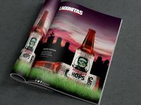 Lagunitas Magazine ad and Bottle label design