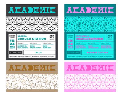 Academic Coffee typography type patterns packaging illustration design branding coffee