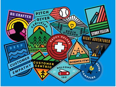 Design for Delight (D4D) sticker badges intuit illustration campfire design summer camp badges camp badges summer camp camp vinyl stickers stickers