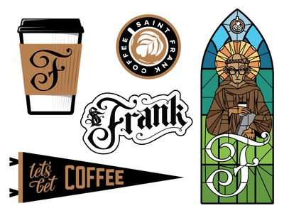 Saint Frank Coffee sticker pack letters lettering typography coffee stickers