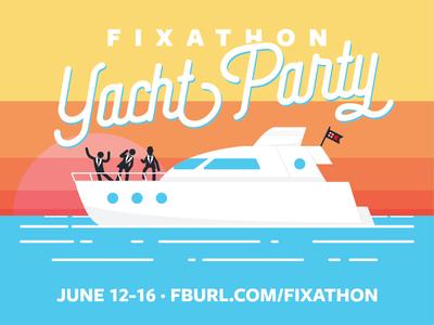 Fixathon Yacht Party hack hackathon poster typography design art illustration facebook
