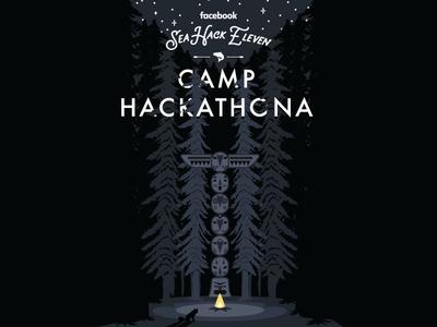 Camp Hackathona facebook design art illustration poster hackathon