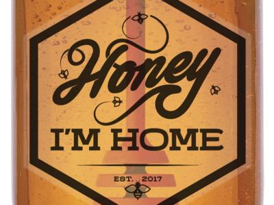 Honey I'm Home honey logo honey bees illustration script label