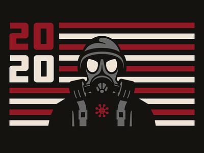 2020 usa hand lettering flag branding coronavirus virus 2020 gas mask hazmat