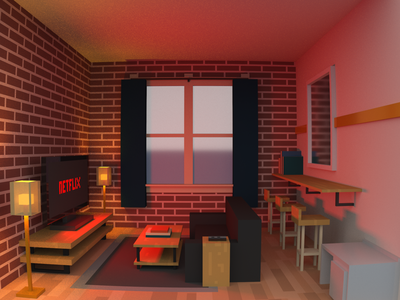 Quarantine. 3d animation airbnb livingroom interior illustration 3d