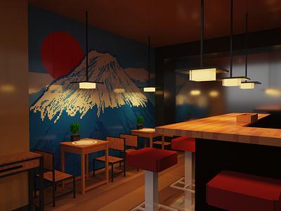 Mt Fuji Sushi 3d artwork 3d artist 3d art 3d voxel voxel art magicavoxel voxel 3d sushi