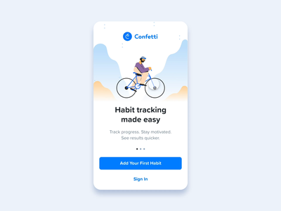 Confetti Welcome Screen welcome screen mobile ui mobile app ios onboarding welcome mobile