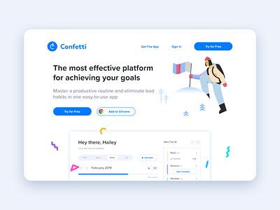 Confetti - Habit Tracker Landing Page website marketing design uidesign landingpage vector ux logo flat branding design illustration