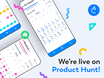 Confetti iOS + Android is Live on Product Hunt! dashboard launch page launch day product hunt launch logo flat branding illustration design