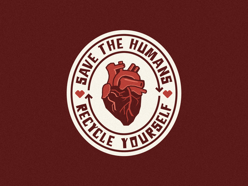 Save The Humans - Recycle Yourself organs non profit charity cause vector design negative-space negative space heart icon heart beat branding illustration badge organ heart