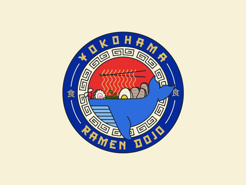 Ramen Dojo Badge Branding design restaurant restaurant branding brand design brand brand identity japanese japan ramen noodles noodles ramen whale illustration badge branding