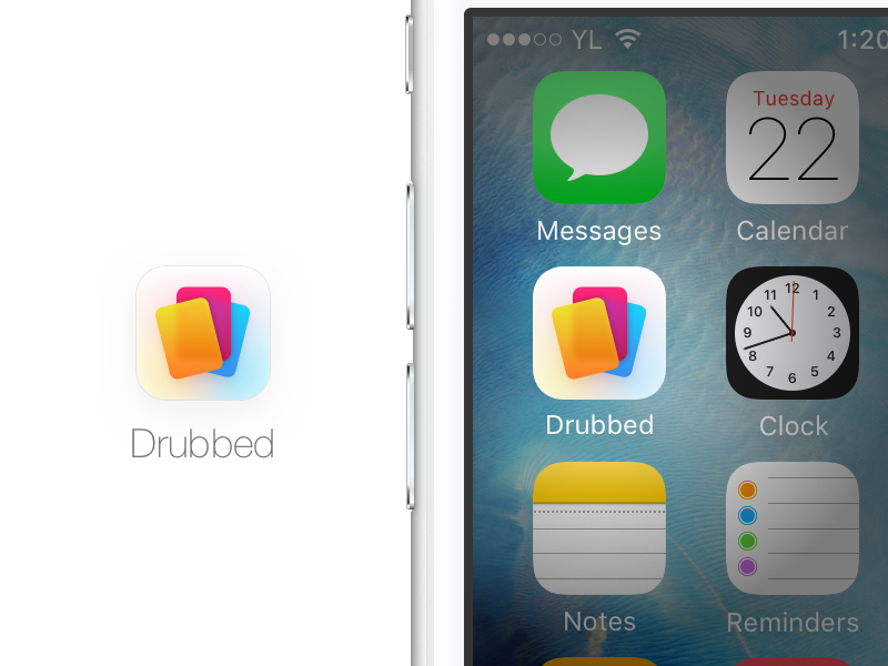 Drubbed App Icon colorful transparent gradient flat ios card game game vibrant cards app icon icon app