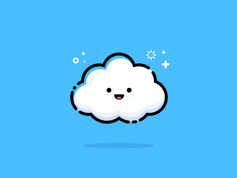 Cloud flat line illustration emoji smiley cloud