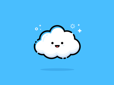 Cloud flat line illustration emoji smiley cloud