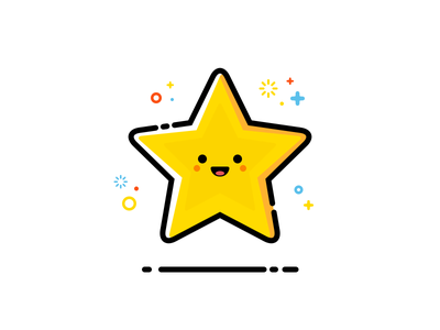Little Star smile laugh happy design flat line illustration emoji smiley star