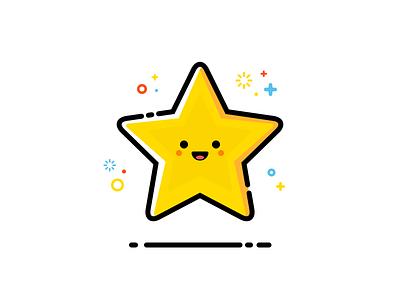 Little Star smile laugh happy design flat line illustration emoji smiley star