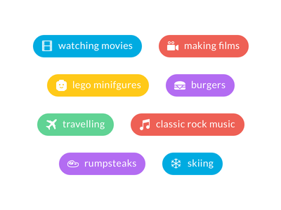 Things I Like snow steak music plane food burger lego film movie hobbies hobby icons