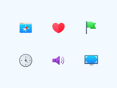 Semi-Flat Feature Icons icons display screen speaker clock flag heart browser website