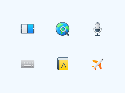 Semi-Flat Feature Icons vol. 2 flat plane dictionary book keyboard microphone globe tablet ipad icons