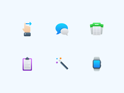 Semi-Flat Feature Icons vol. 3 gradient flat ios watch magic copy clipboard cards message hand gesture icons