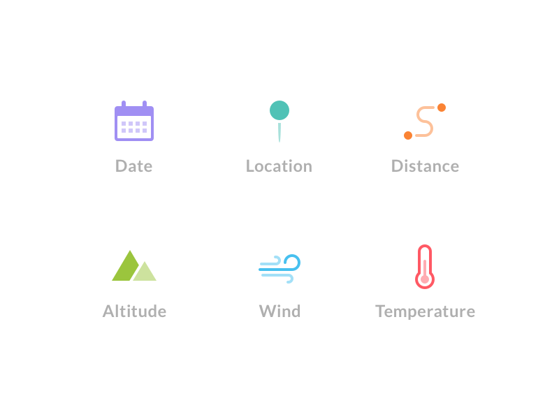 Flight Stats Icons transparent glyph temperature wind mountains distance pin location calendar icons