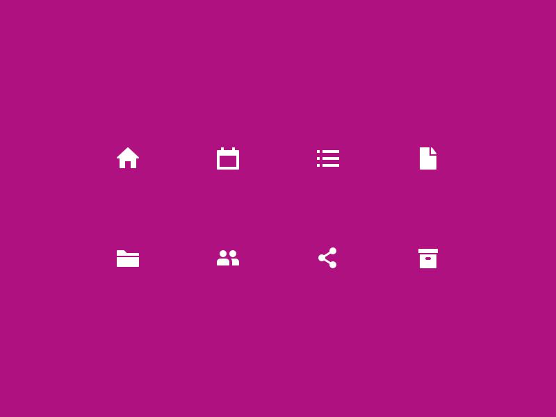 Sidebar Icons glyph archive share people folder document list calendar home sidebar icons