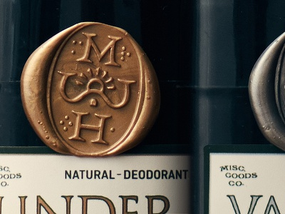 Natural Deodorant Wax Seal product packaging gold silver classic seal wax design label kickstarter deodorant