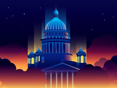 St Isaac's Cathedral inspiration reflection sunset light location city illustration russia building colourful petersburg cathedral