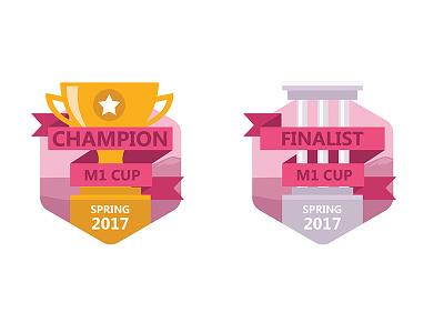 Prize flat icons championship silver icon flat ribbon pink champion finalist cup gold