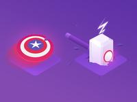 Marvel isometric Icons