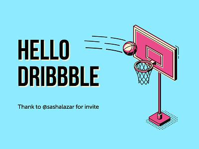 Hello Dribbble! hey hello world design sport logo banner 2018 2019 bebas neue ball basketball poster art card thank invite hello dribbble dribbble hello