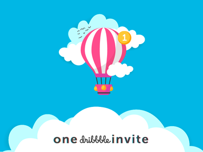 Dribbble Invite 1 one webdesign travelling trip icon mark color 2019 illistration background worldwide holidays tourism world travel air balloon air dribbble invites invite