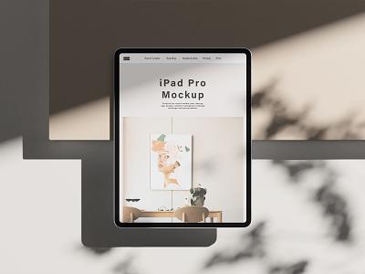 iPad Pro Mockup showcase presentation 3d graphic design mobile tablet display devices ipad pro sunlight overlay shadow mockup