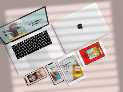 Minimal Devices Mock-Ups design app mockup website minimal natural showcase devices mockup sunlight shadow overlay scene creator ipad iphone x macbook