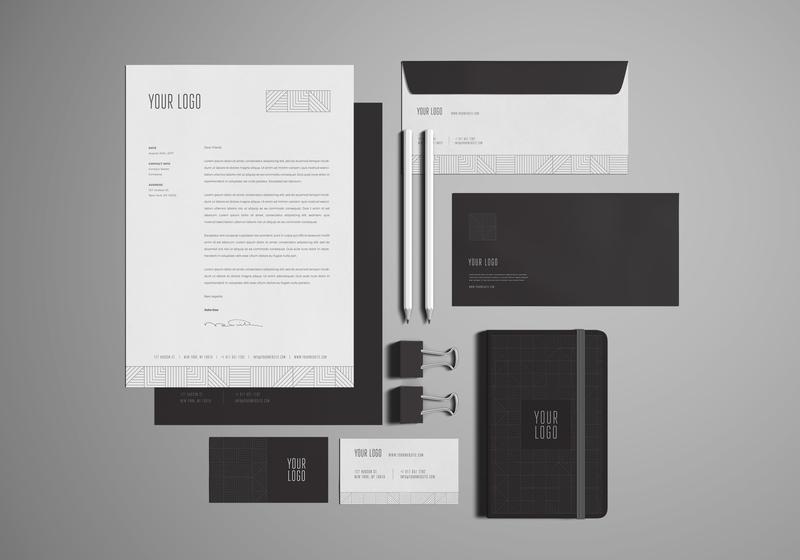 Free Stationary / Branding Mock-Ups smart object logo presentation showcase envelope corporate business card a4 corporate branding identity design mockup branding stationary design