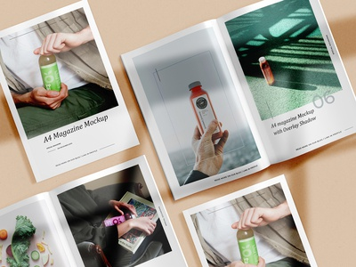 A4 Magazine with Shadow Mock-Ups