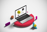 Isometric Macbook with shapes Mockup