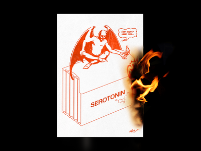 They Won't Need This... print lit graphic design humour mockup fire devil poster brutalism red minimal type illustration typography design