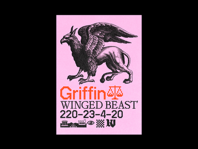 Griffin 8bit pangram typeface bitmap pink poster brutalism line red minimal type illustration typography graphic design griffin
